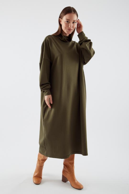 Женское платье свитшот цвет хаки